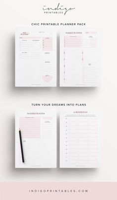 Pink Planner Pack, 9 Pages | Created by #IndigoPrintables