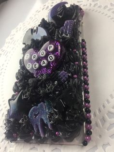 Spooky Goth Girl Black and Purple Decoden Case ready to ship for iPhone 7 plus