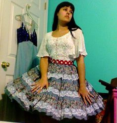 Square Dance Skirt Rockabilly Blue and White by Enchantedfuture, $25.00
