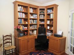 Custom designed and built solid maple wood corner desk with ...