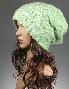 Slouchy Knit Hat in Frosty Green