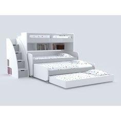 Brayden Studio Gautreau Twin Triple Bunk Bed with Trundle Bunk Beds With Drawers, Bunk Bed With Trundle, Bunk Beds With Stairs, Twin Bunk Beds, Kids Bunk Beds, Murphy Bunk Beds, Modern Bunk Beds, Cool Bunk Beds, Unique Bunk Beds