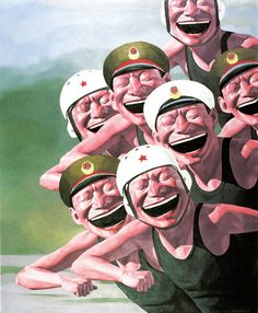 """Yue Minjun [China] (b 1962) ~ """"Hats Series - Armed Forces"""". Oil on canvas (167 X 140 cm). 
