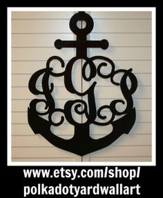 Metal Anchor With Three Letter Monogram For Door Or Outside Garden Flag Pole