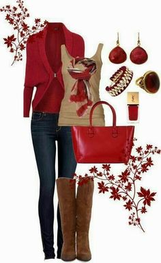 Red cardigan, jeans, brown blouse, scarf, handbag and long boots for fall Fun and Fashion Blog