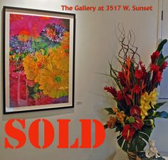 """SOLD """"Matsumoto Aster and Gerbera""""   2013 1/10 The Gallery at 3517 W. Sunset LA, CA"""