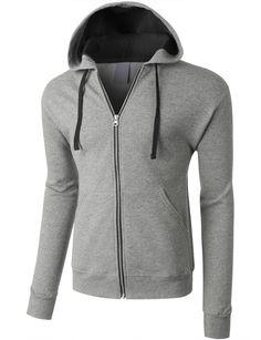 LE3NO PREMIUM Mens Midweight Contrast Full Zip Hooded Sweatshirt