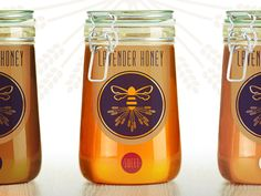 LAVENDER HONEY designed by Lisa Omn. Connect with them on Dribbble; Honey Bottles, Bottles And Jars, Honey Container, Honey And Co, Honey Label, Honey Packaging, Lavender Honey, Golden Honey, Jar Labels