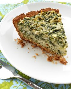 The Spunky Coconut: Spinach Pasta Pie (inspired by spinach ricotta pie) gluten-free, dairy-free Pasta Torte, Pasta Pie, Almond Recipes, Dairy Free Recipes, Gluten Free Recipes, Gf Recipes, Recipies, Spinach Ricotta Pie, Spinach Pasta