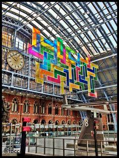 London St Pancras Station. Eurostar Arrivals. Modern Art