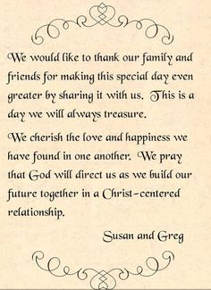 """a sweet """"thank you"""" for sharing in our special day. Love ..."""