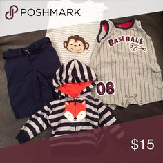 ❗️2 FOR $25 ❗️Baby Boy Clothing Bundle 3 month Baby boy clothing Bundle size 3 months. Pants are Ralph Lauren brand. 2 rompers and jacket are Carter's. This fox jacket is one of my favorites! Other
