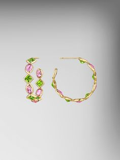 Square Peridot and Oval Pink Sapphire Florentine Hoops