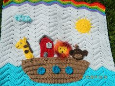 Crochet Noah's Ark baby blanket customized to by HookedUpByAmanda, $73.00