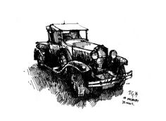 #movemay #thedailysketch 35 min ink sketch of an old vintage car.  Embedded image permalink