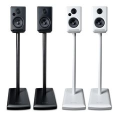 15 Stylish Speaker Stands Ideas for Modern Designs – Modern Home Speaker Stands, Speaker System, Home Entertainment Furniture, Blue Aura, Cable Management System, Hard Floor, Loudspeaker, Wireless Speakers, Power Cable