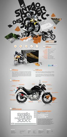 Honda CB300R by Daniel Cassa Ciccarelli, via Behance | Not super into the vibe, but the layout is making my head-spin with possibilities.