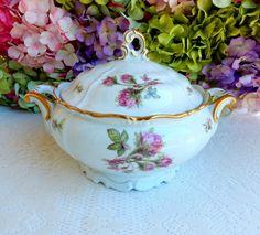 Beautiful Vintage German Porcelain Covered Serving Bowl Edelstein Moss Rose Gold…