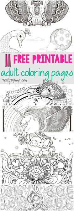 I love these free printable adult coloring pages. a page for every level of coloring skill. 11 free pages Coloring Pages For Grown Ups, Free Adult Coloring, Printable Adult Coloring Pages, Coloring Book Pages, Coloring For Kids, Coloring Sheets, Coloring Stuff, Zantangle Art, Free Printables