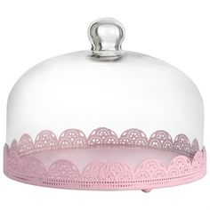 "Pink Metal Cake Stand with Lid 8"" D $35.45 www.cakestandsgallery.com - Cake Stands NEW (2)"