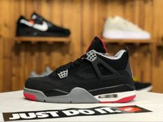 5213bf5bbed 2019 Mens Air Jordan 4 Retro Bred Black Cement 308497-089 Shoes To Buy Air