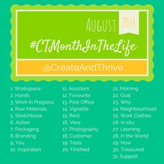 Photo a Day for Creatives - love this idea for a photo a day Instagram challenge for creative types - starts Aug 1st 2014  #ctmonthinthelife #instagram #crafts #DIY
