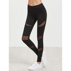 SheIn(sheinside) Black Mesh Insert Leggings (18 CAD) ❤ liked on Polyvore featuring pants, leggings, stretchy pants, cotton trousers, stretch leggings, legging pants and mesh panel leggings