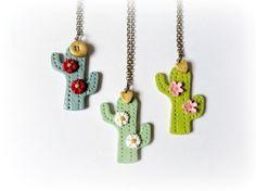 Cactus - collar porcelana , Bisutería, Collares