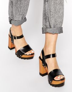 ASOS HARLINGTON Leather Heeled Sandals