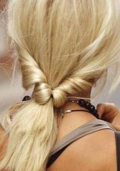 Tie it back with this cute hairstyle and kick your feet up on the dashboard.