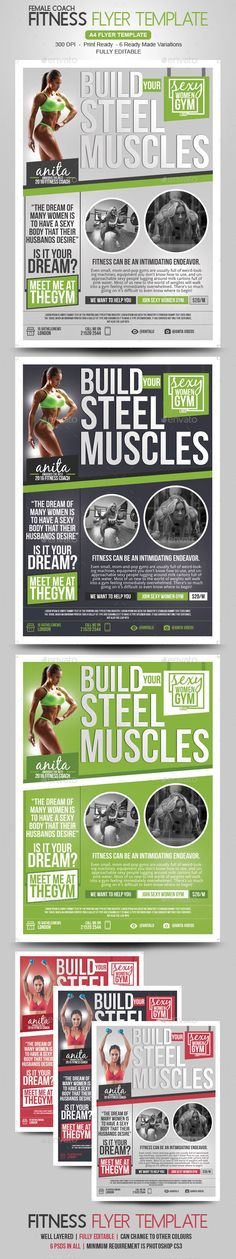 #Fitness #Flyer / Gym Flyer - #Corporate Flyers Download here: https://graphicriver.net/item/fitness-flyer-gym-flyer/18969800?ref=alena994