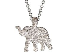 Me and Ro Me Silver Paisley Elephant Pendant with Indian Diamond