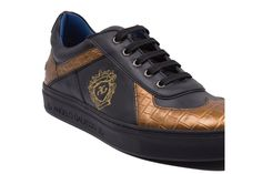 Discover the new Angelo Galasso Sneaker Collection. Black And Gold Sneakers, Crocodile, Front Row, Louis Vuitton, Classic, Casual, Leather, Fashion, Moda