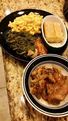 Pork pig feets, turnips green,mac/cheese, bbq chicken and cornbread