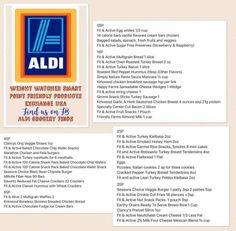 Aldi's Weight Watchers Shopping List