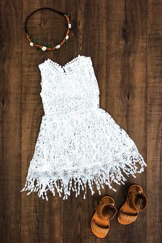 TANK White Flowered Lace Fringe Dress from Sparkle in Pink Have your princess the star of the show this stunning White Flower Lace Dress!  So elegant and sweet. Perfect for everyday wear, church, weddings, formal events and special occasions! The perfect flower girl dress!