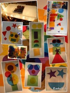 cut shapes out of tissue paper from a story, laminate for the light table. Preschool Art, Preschool Activities, Reggio Emilia, Diy Light Table, Art For Kids, Crafts For Kids, Robot Monster, Light Board, Space Theme