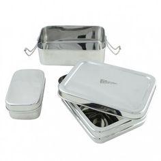 RVS lunchbox met lagen en mini container