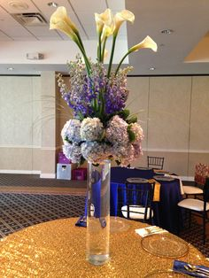 Non-Profit Centerpiece At Jefferson Country Club.  Hydrangeas, Calla Lilies, & Delphinium