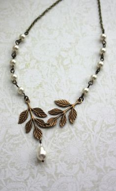 Brass Leaf, Ivory Pearls Leaves Necklace, Ivory Pearls Necklace. Nature Vintage Inspired. Bridesmaids Gift | By Marolsha