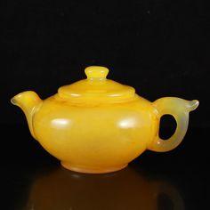 Chinese Natural Huanglong Jade Teapot