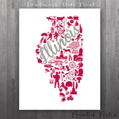 DeKalb Illinois Landmark State Giclée Print  8x10  by PaintedPost, $15.00 #paintedpoststudio - Northern Illinois University - Huskies - Illinois State Map- What a great and memorable gift for graduation, sorority, hostess, and best friend gifts! Also perfect for dorm decor! :)