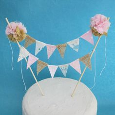 Cake topper wedding Burlap Pink and Gold cake by Hartranftdesign, $28.50