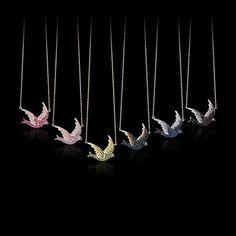 Pave Bird Necklaces
