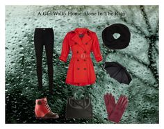 """A Girl Walks Home Alone In The Rain"" by cupcakesandhappiness ❤ liked on Polyvore featuring moda, AG Adriano Goldschmied, SOREL, Prada, DKNY e John Lewis"