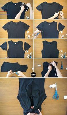 Dies Schritt-für-Schritt-Tutorial zur Rekonstruktion vom T-Shirt bis zum Tank ... - #diyclothes T-shirt Refashion, Diy Clothes Refashion, Diy Clothing Upcycle, Upcycle T Shirts, Thrift Store Diy Clothes, Revamp Clothes, Diy Clothes Tutorial, Shirt Alterations, Diy Kleidung