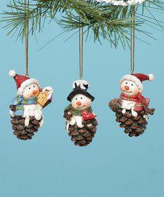 Pinecone Snowman Ornament - Set of Three #zulily #zulilyfinds