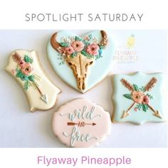 🌟SPOTLIGHT SATURDAY🌟  My apologies for the delay in our post - a sick household has turned life into chaos!  BUT our feature artist today is so worth the wait 😉  I love this cookier. Her whimsical, colourful and unique designs are such a treat to admire and devour! Of course I'm talking about @flyawaypineapple.  Just look at her logo, if that's not enough to make you smile I don't know what it would take 😊 Rhian has been creating her gorgeous designs for the past 4 years after turning…