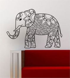 Elephant V4 Decal Wall Vinyl Art Decor Room Animal Beautiful Boho Design Mandala