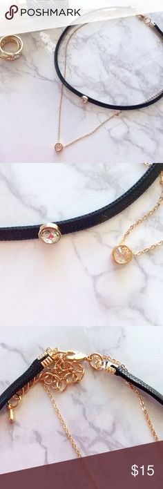 Double Layer Choker & Chain Gorgeous black & gold filled choker w/attached chain. Both have studs on them.   ALL PRICES ON RETAIL ITEMS ARE FIRM UNLESS BUNDLED.  ??Please note that although my retail items are new, most do not come with tags, as they are purchased wholesale.  ???? ?????s ???? ????s ??10% ??? 2+ ??????s Jewelry Necklaces
